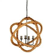 Merana Amberg 25x25 Brass-Toned Metal & Natural Robe Six Bulb Chandelier