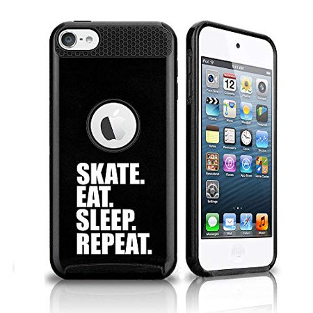 Shockproof Impact Hard Soft Case Cover for Apple (iPod Touch 5th / 6th) Skate Eat Sleep Repeat Ice Roller Skateboard (Black)