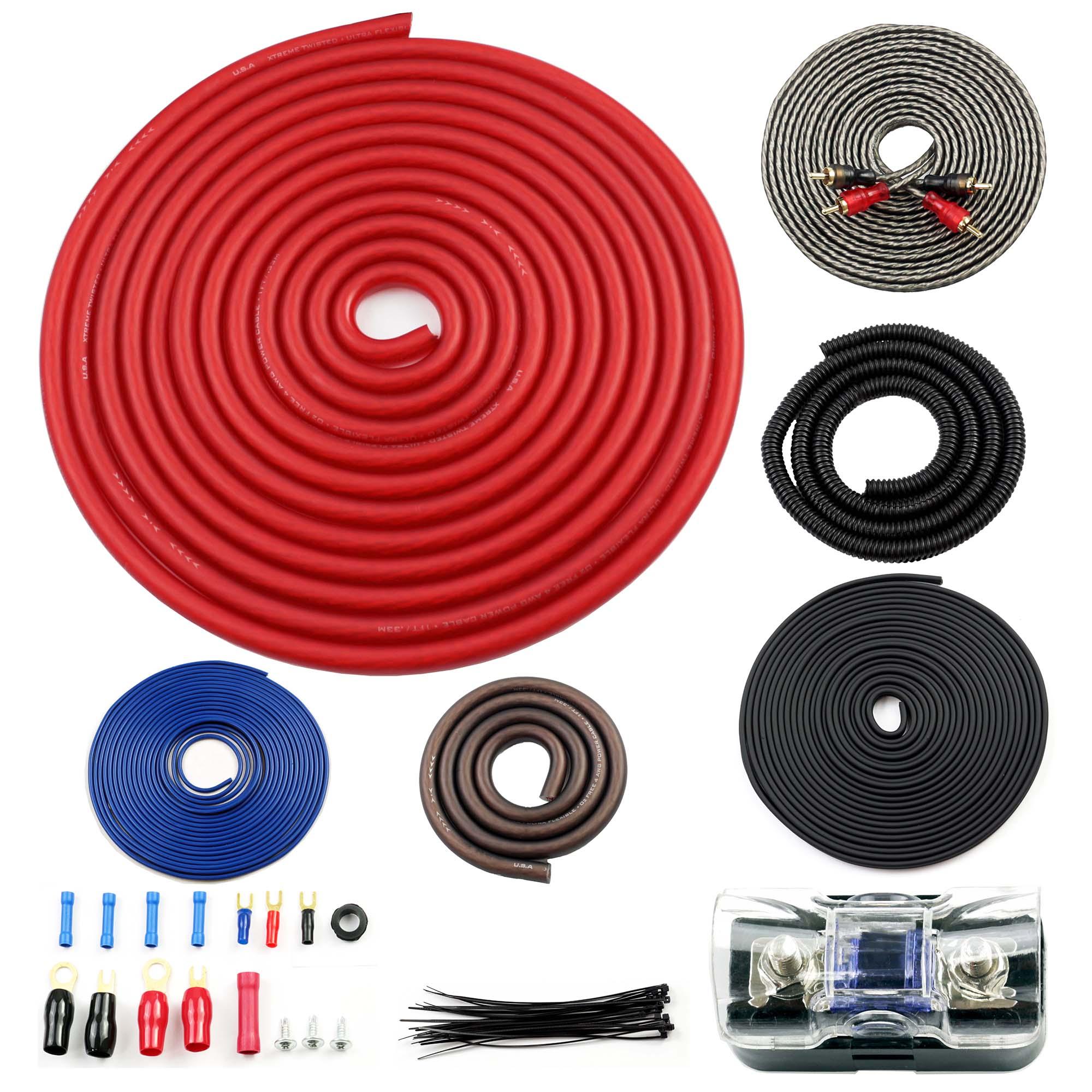 Bullz Audio 4 Gauge Car Amplifier Installation Power Wiring Kit, Red | BGE4RB