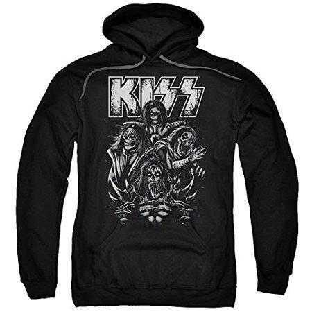 Kiss Skull Adult Pull Over Hoodie Black  Kiss125