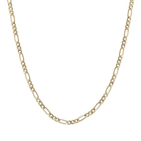 A&M Solid 14K Yellow Gold 2mm Figaro Chain Necklace 14k Gold Fancy Solitaire