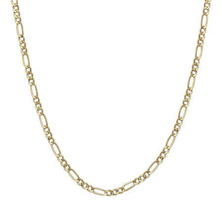 Traditional Indian Gold Jewelry - A&M Solid 14kt Gold Figaro Chain 2MM, 20