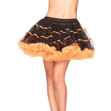 Leg Avenue Women's Layered Striped Petticoat Dress, Black/Orange, One Size