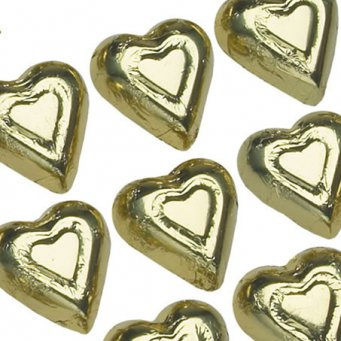 Gold Premium Milk Chocolate Hearts Wrapped In Italian Foil - 1 LB , 55 Pieces (Chocolate In Gold Wrapping)