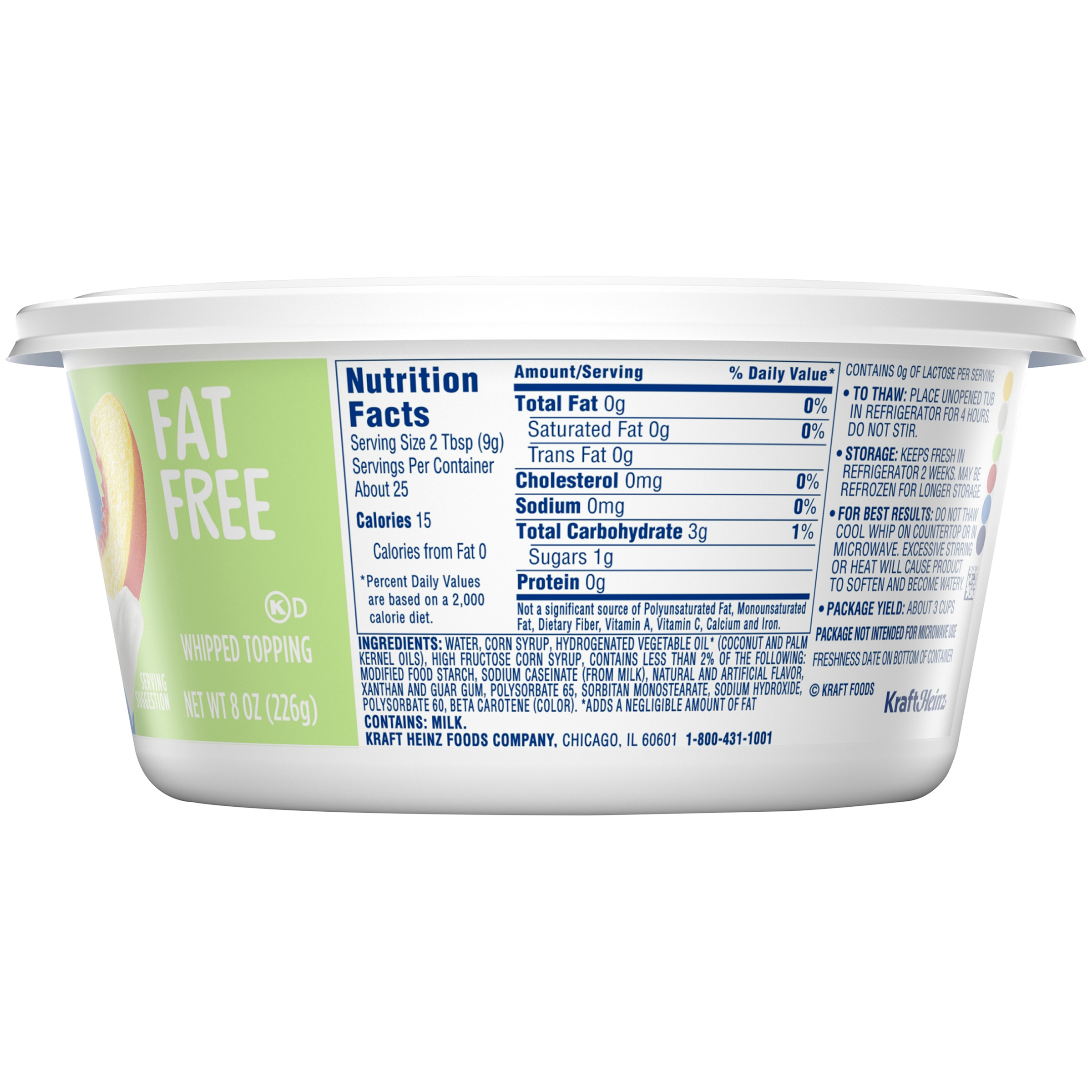 Cool Whip Fat Free Whipped Topping 8 Oz Tub Walmart Com