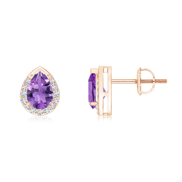 Angara Amethyst Diamond Stud Earrings in Rose gold nN3eQ9hyIH