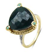 Malaika  14k Yellow Gold over Silver 11 1/5ct Emerald and Diamond Accent Ring 7