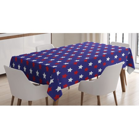 USA Tablecloth, United States of America Theme Federal Holiday Celebration Revolution Design, Rectangular Table Cover for Dining Room Kitchen, 52 X 70 Inches, Dark Blue Red White, by Ambesonne