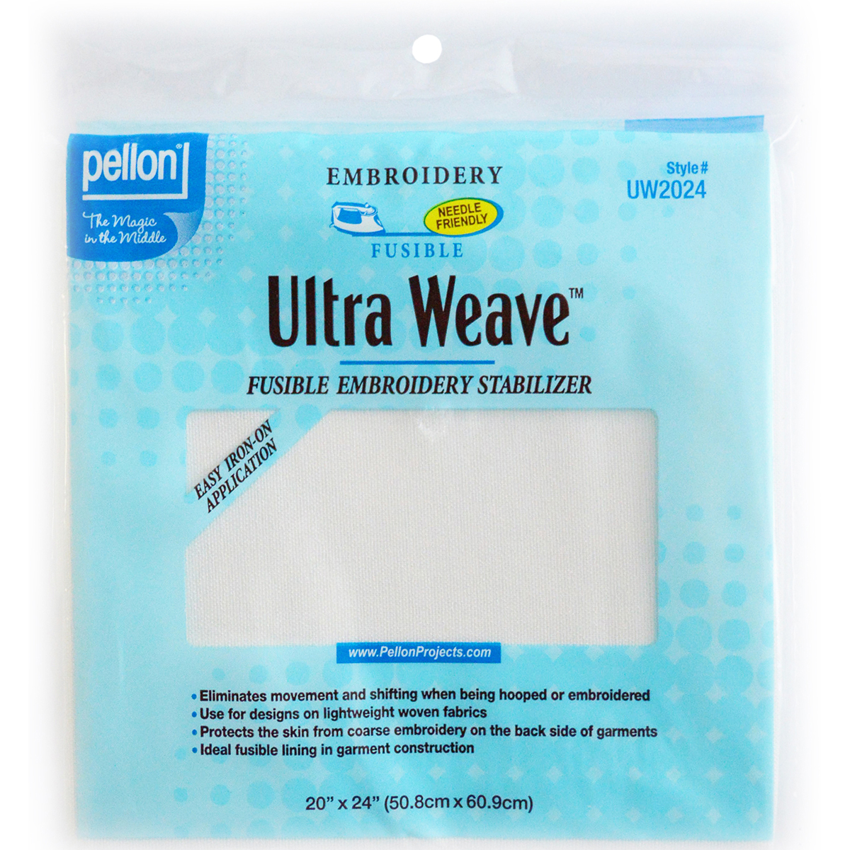 "Pellon Ultra Weave Fusible Embroidery Stabilizer-White 20""X24"