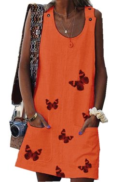 Butterfly Print Women Sleeveless Casual Dress with Belt