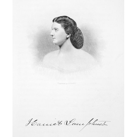 Harriet Lane Johnston N 1830 1903  Niece Of President James Buchanan And White House Hostess Line And Stipple Steel Engraving 19Th Century Rolled Canvas Art     24 X 36