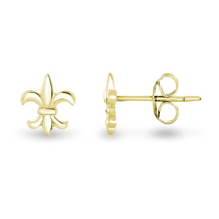 14k Yellow Gold Plated Sterling Silver the Mini Fleur De Lis Lily Flower Stud Earrings