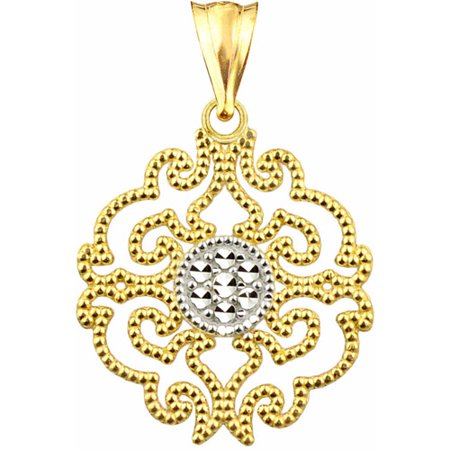 US GOLD 10kt Gold Vintage Filigree Fashion Charm Pendant