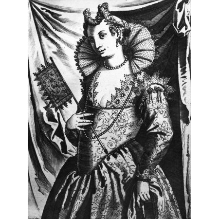 Venetian Woman C1600 Nvenetian Woman Line Engraving From Giacomo Francos Habiti Delle Donne Venetiane  Costumes Of Venetian Women  C1600 Rolled Canvas Art     24 X 36