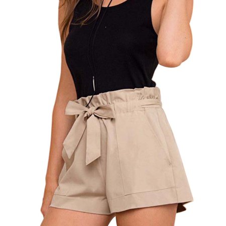 ZEFINE Women's Elasticated High Waist Lace-up Wide-leg Shorts (Lace Lace Up Boardshorts)