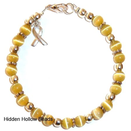 Childhood Cancer Awareness Bracelet by Hidden Hollow Beads - 7 3/4 in. - Fits Most Adults - Lobster Clasp (Golden)