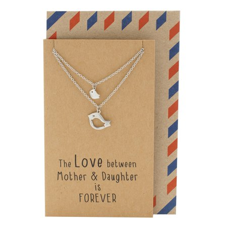 Mother Daughter Bird Necklace Set For 2 Birthday Gifts Mom Animal Charm