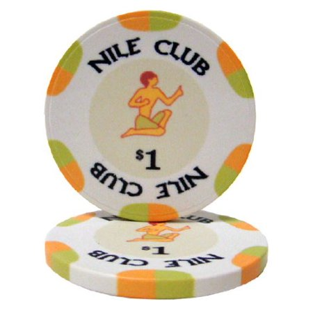 25 $1 Nile Club 10 Gram Ceramic Casino Quality Poker Chips, Casino weight and feel By Brybelly