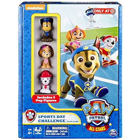 Nickelodon Paw Patrol All Stars Sports Day Challenge Path Game Exclusive, 3 pup movers By Spin Master Ship from