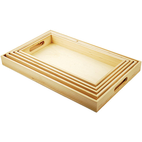 "Paintable Wooden Trays W/Handles 5 Piece Set, 6, 5/8""x13"" To 10, 1/8""x16, 1/8"""