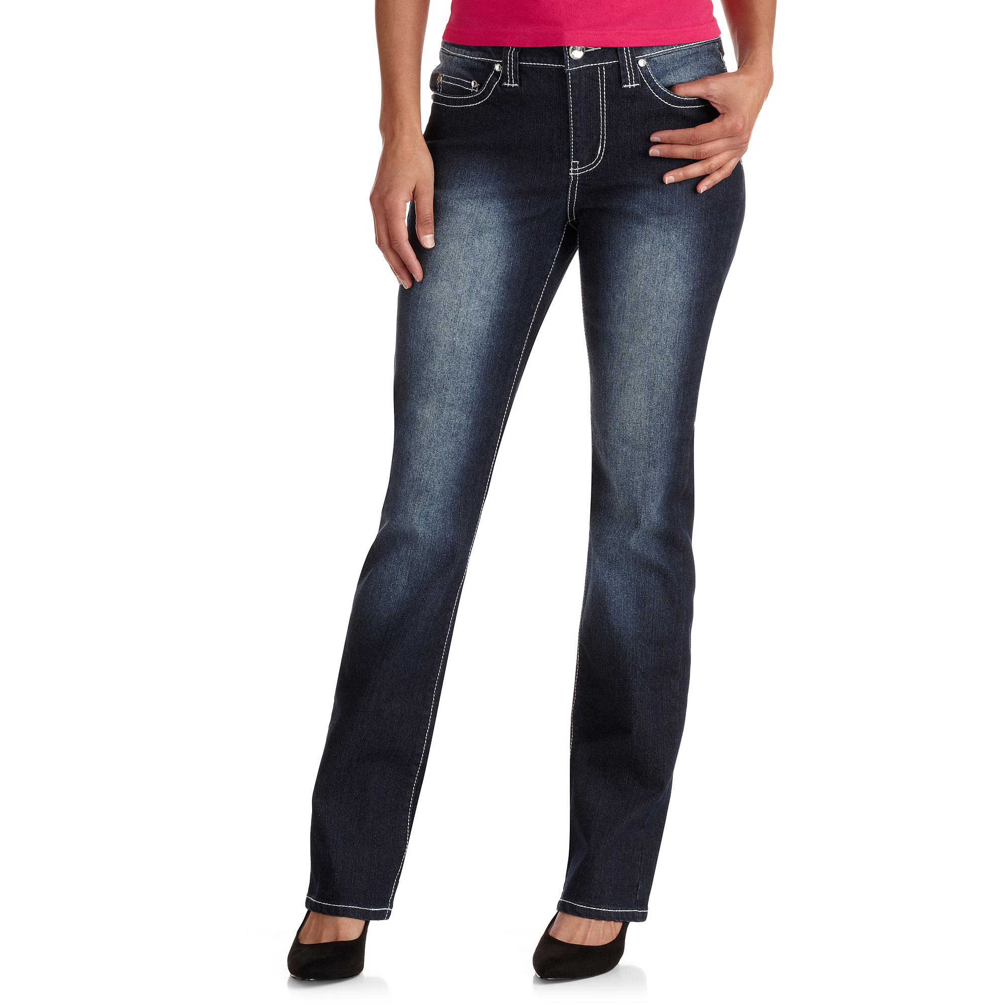 Red Rivet Women's Distressed Bootcut Jeans With Faux Leather Details