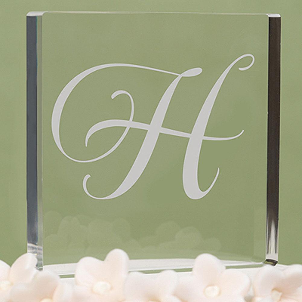 Letter ''H'' Script Initial Cake Top
