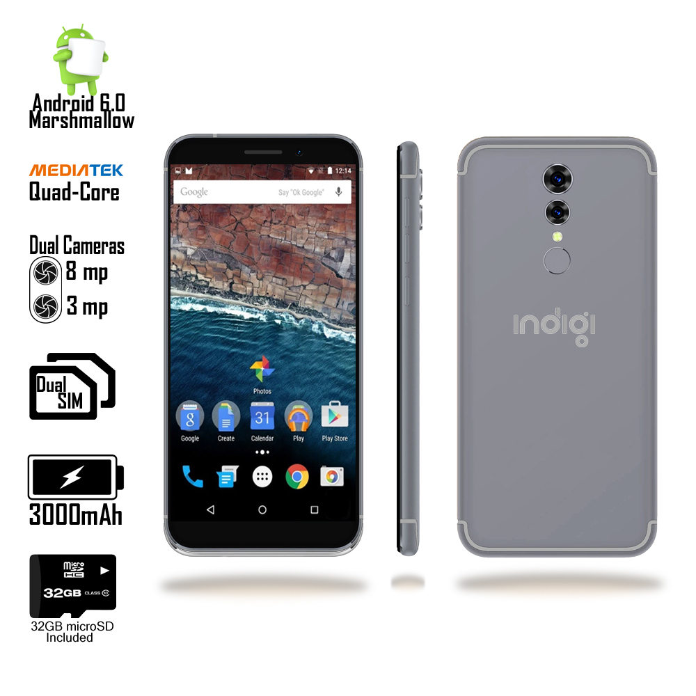 "Indigi® Unlocked 5"" 4G DualSim Android 6.0 SmartPhone AT&T Straight Talk + 32gb Included"