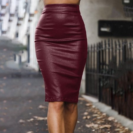 Aofa Women Sexy High Waist Back Slit Zipper Faux Leather Bodycon Midi Pencil Skirt - image 5 of 7