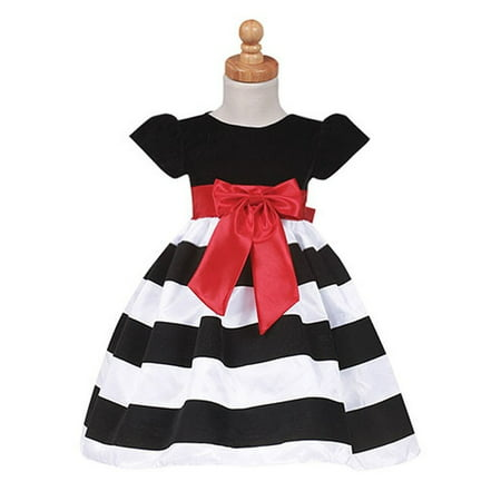 e2eb6313265c4 Sophias Style - Girls Black Stripe Flocked Christmas Dress Baby ...