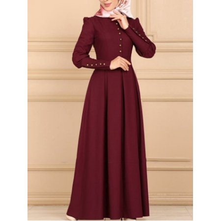 Women Vogue Brief Style Islam Muslim Dress Long Sleeve Floor Length Islamic Dresses Without Hijab Vogue Bridal Dresses
