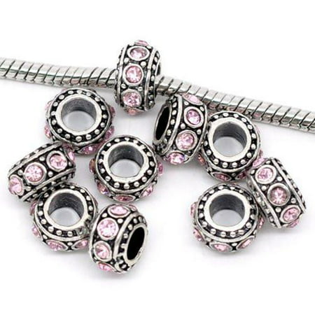Five (5) June Birthstone Light Pink  Rhinestone Charms Spacer Beads For Snake Chain Charm - Pearl Genuine Charm