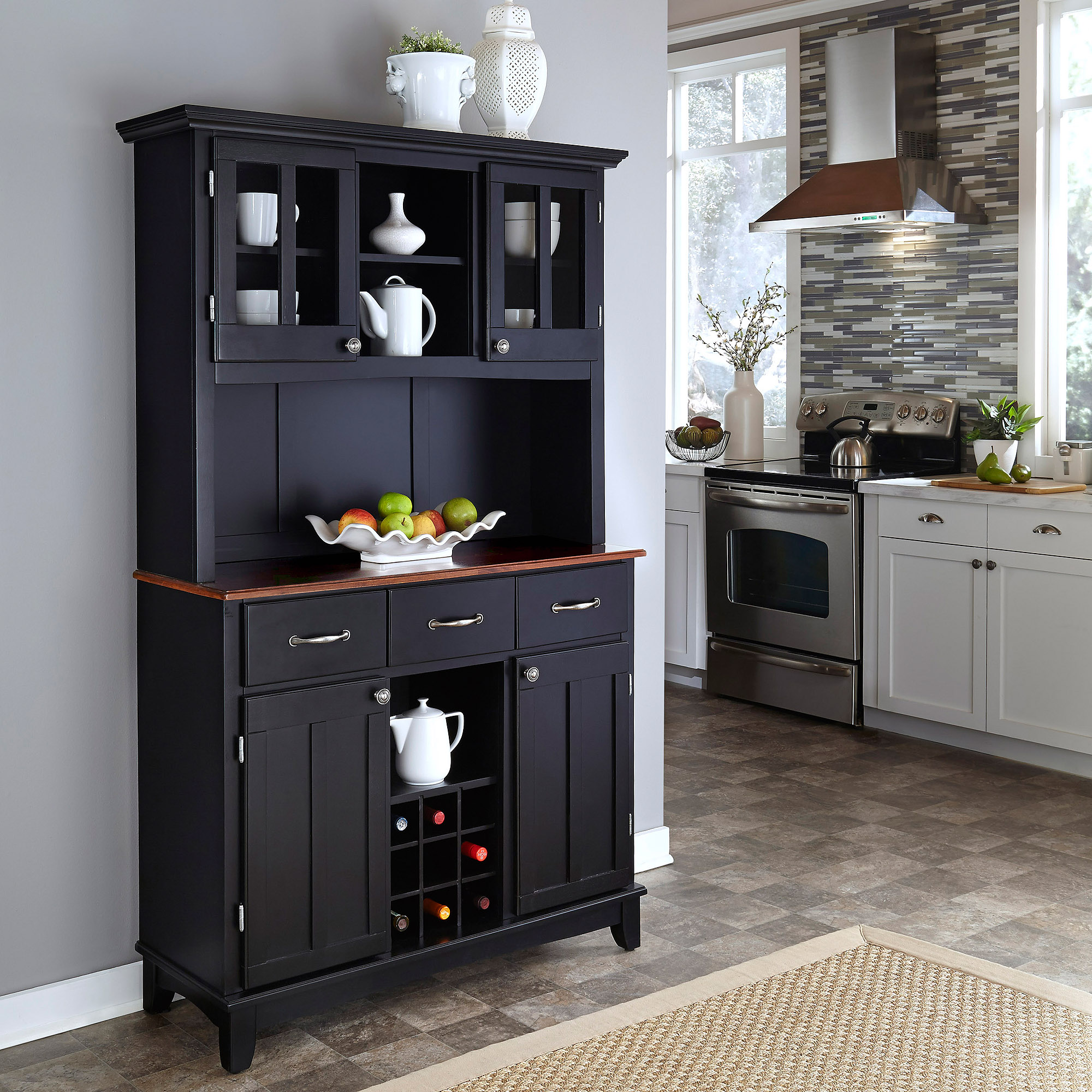 Home Styles Large Buffet With Two Glass Door Hutch Black Cherry Top