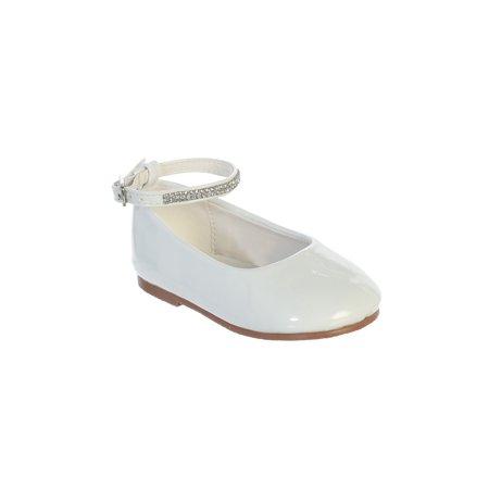 Girls White Patent Rhinestone Encrsuted Ankle Strap - White Patent