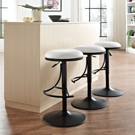JASPER BACKLESS SWIVEL COUNTER STOOL IN PLATINUM WITH BLACK