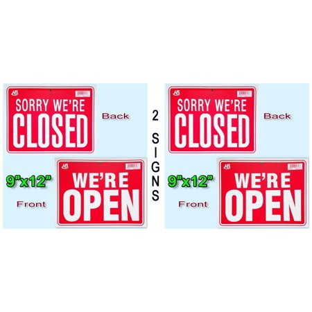 HB-101 2 Signs in Front WE'RE OPEN in Back SORRY WE'RE CLOSED Flexible Plastic 9