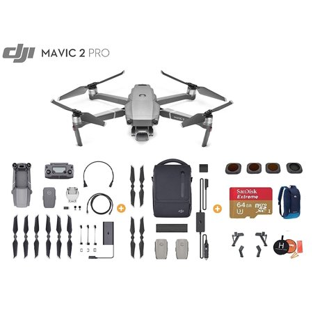 DJI Mavic 2 Pro Drone Quadcopter with Fly More Kit, Ultimate Bundle, with  64GB SD Card, Filter Set (CPL ND8 ND16 ND32), Landing Gear, Landing Pad and