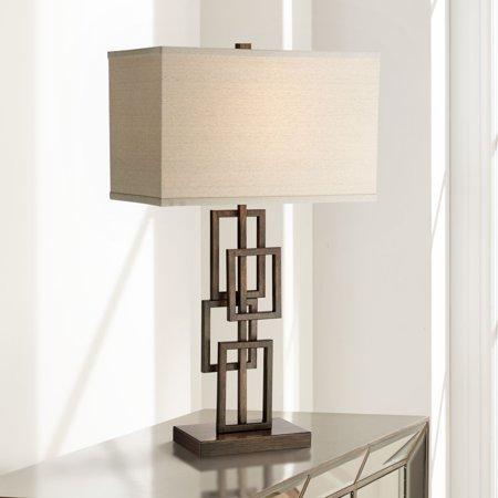 - 360 Lighting Modern Table Lamp Dark Bronze Metal Stacked Geometric Base Rectangular Shade for Living Room Family Bedroom Bedside