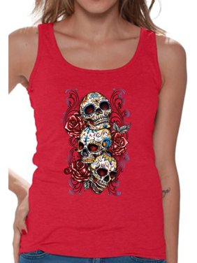 8cdb9fb4f4e51 Product Image Awkward Styles Three Sugar Skull Tank Top for Women Sugar Skull  Tank Day of the Dead