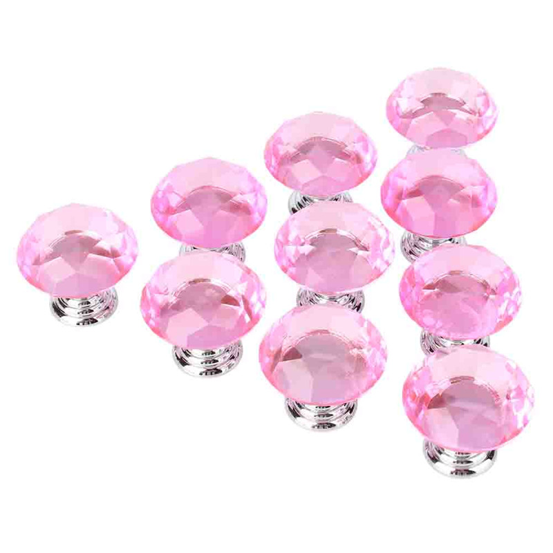 30mm Diamond Shape Crystal Glass Knob 10Pcs Drawer Knob Pull Handle for Cupboard,Kitchen and Bathroom Cabinets,Shutters(Clear)