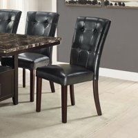 Leather Upholstered Dining Chair With Button Tufted Back Set Of 2 Black
