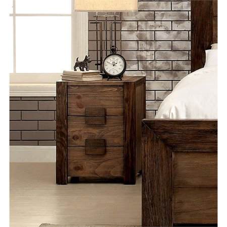 Furniture of America Drew 3 Drawer Nightstand in Rustic Natural ()