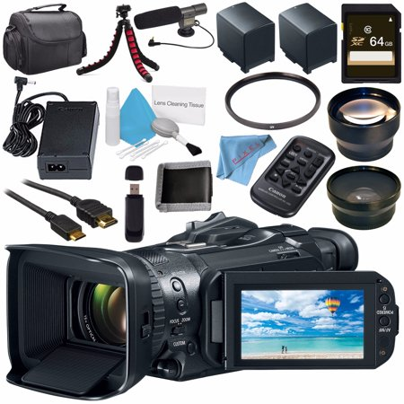 Canon Zoom Lens Tv - Canon VIXIA GX10 UHD 4K Camcorder 2214C002 + BP-820 Lithium Ion Battery Pack + 64GB SDXC Card + 58mm UV Filter + 58mm Wide Angle Lens + Condenser Mic + Memory Card Wallet + Fibercloth Bundle