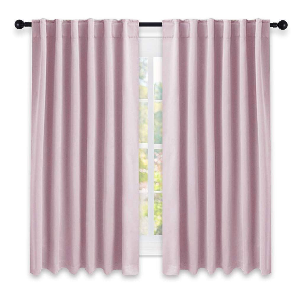 Tayyakoushi Bedroom Draperies Blackout Curtain Panels   (Lavender Pink/Baby  Pink Color) 52 X 63 Inches, Set Of 2 Panels, Solid Room Darkening Blackout  ...