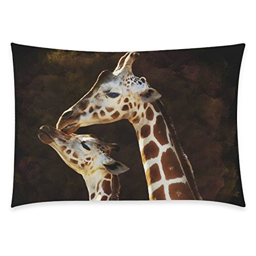 ZKGK Animal Vitality Giraffe Home Decor, Brown Giraffe and Its Mother Soft Pillowcase 20 x... by ZKGK