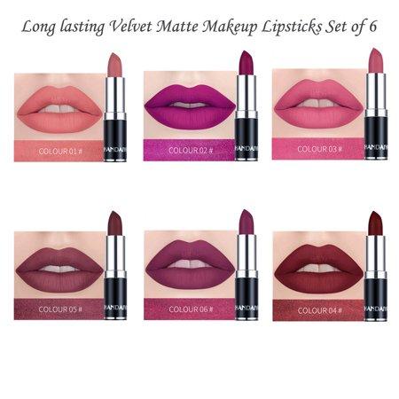 American Science & Surplus Long lasting Velvet Matte Makeup Lipsticks Set of 6 Premium Colors Net Wt.0.08oz