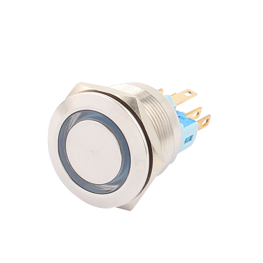 24V 25mm Thread Dia White LED Angle Eyes Momentary Metal Pushbutton Switch - image 1 of 4