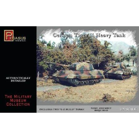 1/72 German Tiger II Tanks, Box contains two 1:72nd scale un-assembled plastic tanks. By Pegasus Hobbies ()