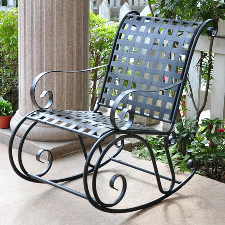 Iron Rocker - International Caravan Scroll Iron Metal Outdoor Rocker