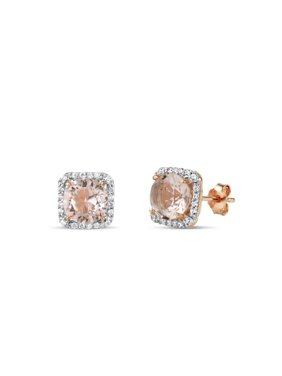 7mm Round Simulated Morganite with White CZ 18kt Rose Gold over Sterling Silver Square Halo Earrings