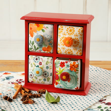 Ceramic Spice Box - The Pioneer Woman Flea Market 4-Drawer Distress Spice Box